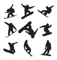 snowboarder jump in different pose silhouette vector image vector image