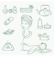 spa doodle hand drawn sketch icons set vector image vector image