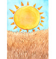 sun with brown meadow watercolor