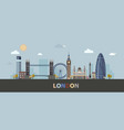 the modern and historic buildings of london in a vector image