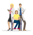 two doctors in white coats next to a disabled girl vector image