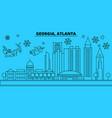united states atlanta winter holidays skyline vector image vector image