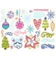 Winter hand drawn elements vector image vector image
