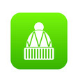 winter hat icon digital green vector image vector image