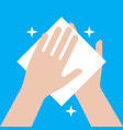 wipe your hands with a napkin hand cleaning icon vector image
