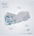 yemen map with infographic elements pointer marks vector image vector image