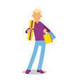 young smiling blonde man in purple pullover vector image vector image