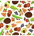 Seamless cartoon nuts beans seeds wheat pattern vector image