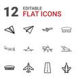 12 aircraft icons vector image vector image