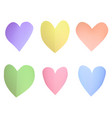 a set of multi-colored pastel paper hearts vector image