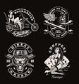 a set vintage biker vector image vector image
