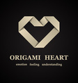 abstract origami paper heart symbol vector image vector image