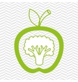 apple fruit with broccoli isolated icon design vector image vector image