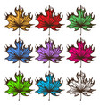 big set of multi-colored maple leaves labels for vector image vector image