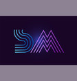 blue pink sm s m gradient alphabet letter vector image vector image