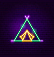 camp tent neon label vector image vector image
