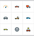 car colorful outline icons set collection of vector image vector image