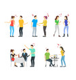 cartoon characters people different conflict set vector image vector image