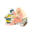 cartoon girl reading book sitting book pile vector image vector image