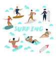 characters people surfing at beach vector image vector image