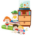 children reading books in the room vector image