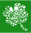 clover leaf with st patrick icons on green vector image vector image