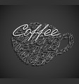 coffee cup drawn by letters vector image vector image