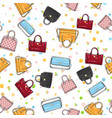 collection of women handbags on endless texture vector image vector image