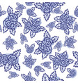 colorful seamless pattern hand drawn blue roses vector image