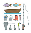 colorful set collection sketch elements to fishing vector image