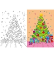 Coloring Book Of Christmas Tree And Gifts vector image vector image