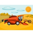 Combine harvester on wheat field Agricultural vector image vector image