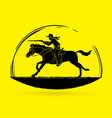 cowboy riding horseaiming rifle gun vector image vector image