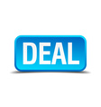 deal blue 3d realistic square isolated button vector image vector image