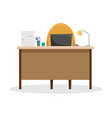 desk with a lamp a pile of papers and a laptop vector image vector image