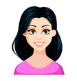 face expression of beautiful woman with dark hair vector image