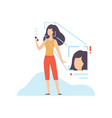 facial recognition technology young woman using vector image vector image