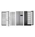 fridge realistic open and closed home vector image vector image