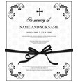 funeral card with vintage obituary template vector image vector image