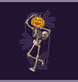 funny skeleton dancing on halloween vector image vector image