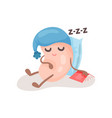 funny soy bean character in a blue hat sleeping on vector image vector image