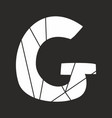 g white alphabet letter isolated on black vector image