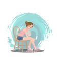 girl sitting wear roller skate shoe sport style vector image