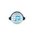 globe music logo icon design vector image