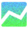 halftone blue-green analytics chart icon vector image vector image