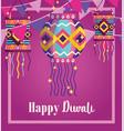 happy diwali festival background lanterns vector image vector image