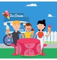 Happy Family Eating Ice Cream Family Weekend vector image vector image