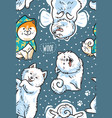 happy samoyed puppies in the snow endless vector image vector image