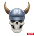 Human skull with viking helmet vector image