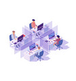 isometric 3d workplace with four sections and vector image